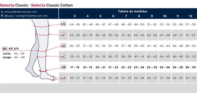 tabela de medidas selecta classic cotton